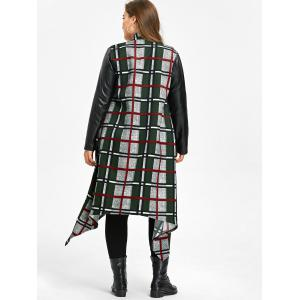 Plus Size Leather Insert Plaid Longline Asymmetrical Coat -