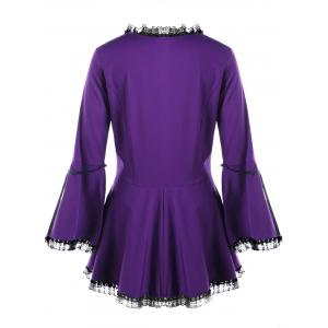 Halloween Plus Size Flare Sleeve Lace Up Top -