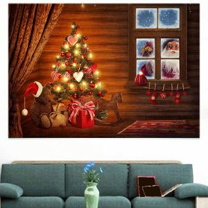 Outside The Window Santa Claus Print Wall Sticker -