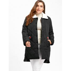 Plus Size Floral Embroidered High Low Padded Coat - BLACK 4XL