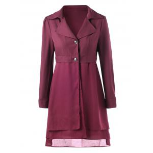 Lapel High Low Coat - Rouge vineux  M