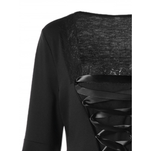 Halloween Plus Size Lace Up Bell Sleeve Top -