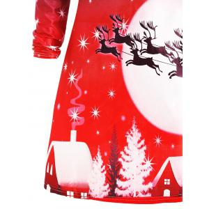 Noël Deer manches longues Tee robe - Rouge M