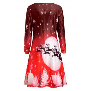 Noël Deer manches longues Tee robe - Rouge L