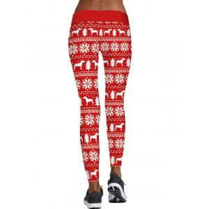 Christmas Tree Snowflake Print Skinny Leggings -