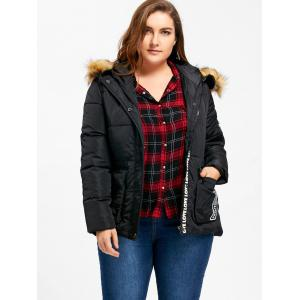 Hooded Letter Print Padded Plus Size Coat -
