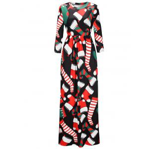 Christmas Stockings Print Maxi Dress -