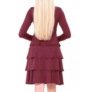 Tier Flounce Long Sleeve Dress -