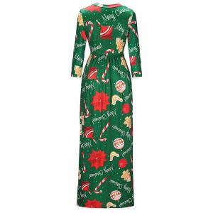 Round Neck Christmas Crutches Print Maxi Dress -