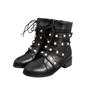 Round Toe Faux Pearl Ankle Boots -