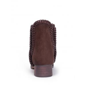 Low Heel Whipstitch Short Boots -