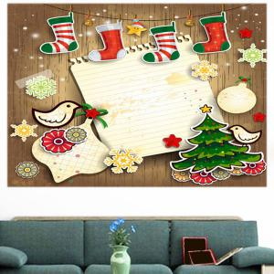 Multicolor Christmas Stocking Print Wall Art Sticker -