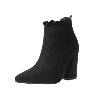 Chunky Heel Pointed Toe Ruffles Boots -
