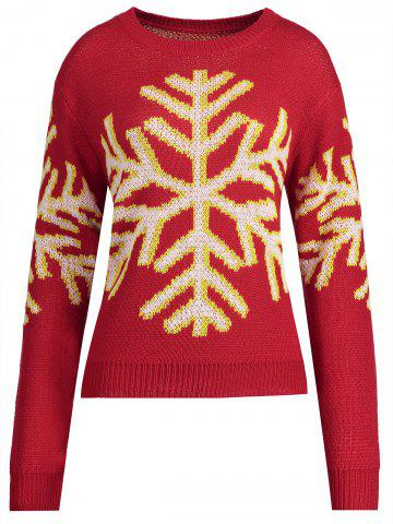 New Christmas Snowflake Snowman Plus Size Sweater - 2XL RED Mobile