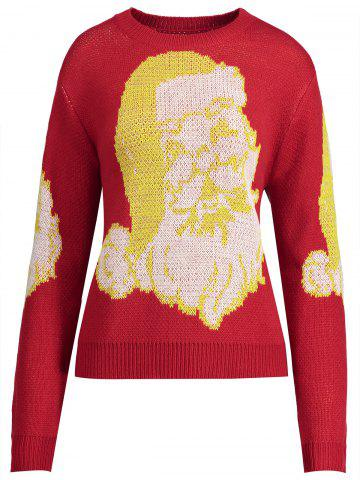 Cheap Christmas Santa Claus Plus Size Jumper Sweater RED XL