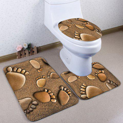 3Pcs Flanel Beach Footprints Bath Tapis de toilette Set Brun