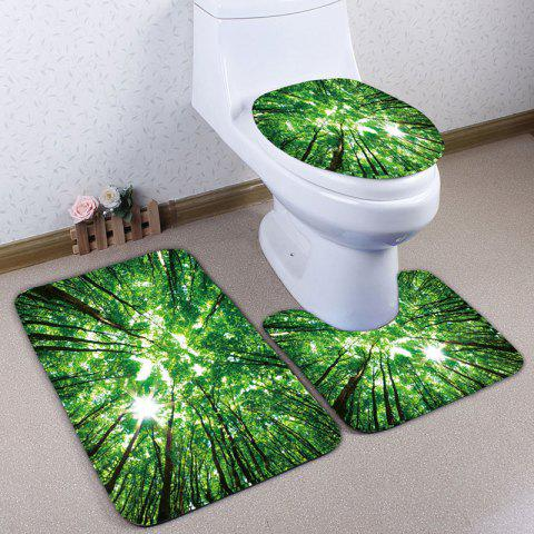 Forest Sky Print Flannel Set de tapis de toilette 3Pcs
