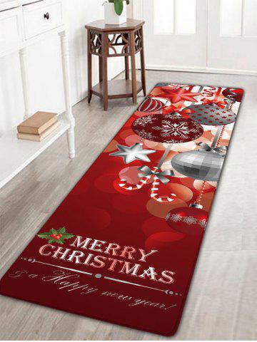 Shop Christmas Ornaments Ball Print Nonslip Flannel Bath Rug