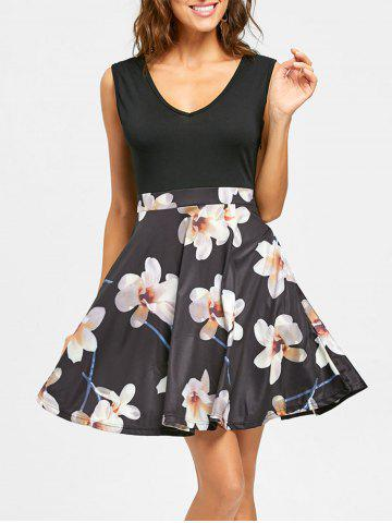 Unique Sleeveless Floral Print V Neck Mini Dress