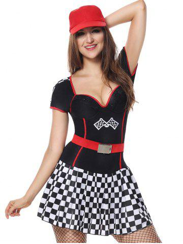 Chic Sporty Sweetheart Neck Plaid Costume Dress BLACK M