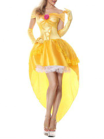 Online High Low Princess Flounce Costume Dress - 2XL YELLOW Mobile