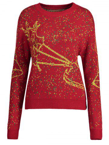 Outfits Christmas Elk Bell Plus Size Sweater - 2XL RED Mobile