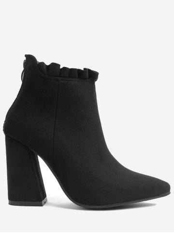 Cheap Chunky Heel Pointed Toe Ruffles Boots