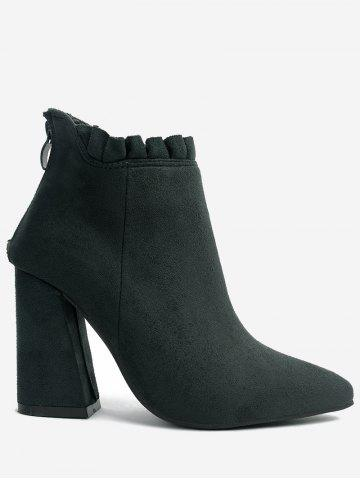 Unique Chunky Heel Pointed Toe Ruffles Boots GREEN 36