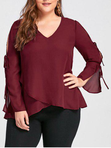Chic Plus Size Slit Sleeve V Neck Blouse - XL WINE RED Mobile