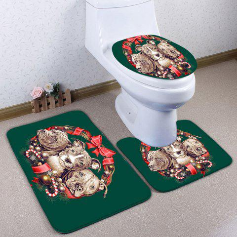 Sale 3Pcs Flannel Animal Printed Bath Toilet Rugs Set - DEEP GREEN  Mobile