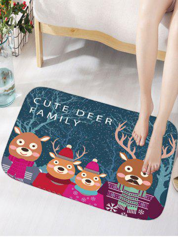 Noël Cute Deer Family Flannel Nonslip Thick Bath Mat Bleu Largeur 16 pouces*Longueur 24 pouces