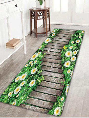 Outfit Flower Wood Path Printed Flannel Nonslip Bath Rug WOOD COLOR W16 INCH * L47 INCH