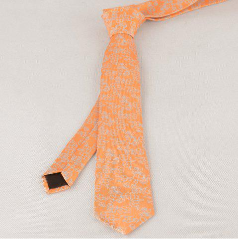 Cravate Vintage 6CM Largeur Jacquard Pattern Orange
