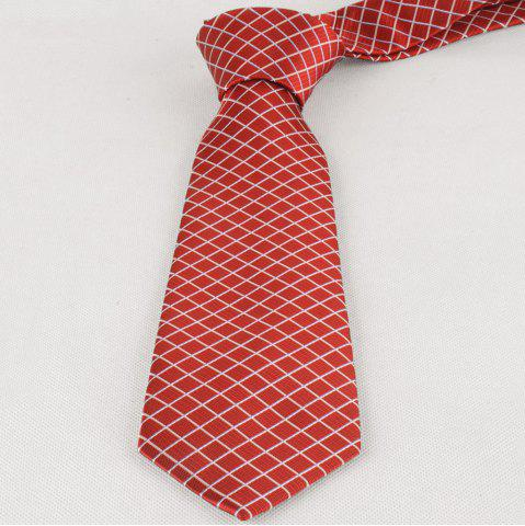 Shops 8CM Width Checkered Pattern Skinny Necktie - RED  Mobile