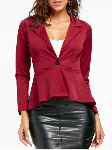 Best One Button Flounce High Low Blazer WINE RED S