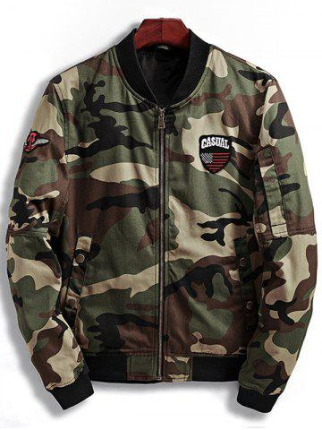 Store Zip Up Patch Design Camouflage Bomber Jacket - XL COFFEE Mobile