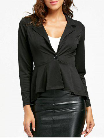 Buy One Button Flounce High Low Blazer - S BLACK Mobile