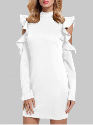 Online Ruffles Cut Out Mock Neck Sheath Dress - S WHITE Mobile