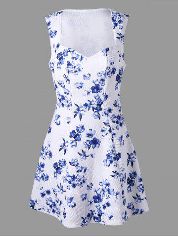 Discount Sleeveless Floral Print Skater Dress WHITE M