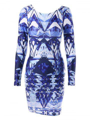 Hot Open Back Printed Bodycon Dress - M COLORMIX Mobile