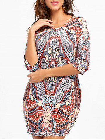 Best Ethnic Print Mini Bodycon Dress - S COLORMIX Mobile