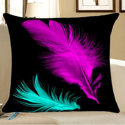 Chic Feathers Printed Square Throw Pillow Case BLACK W18 INCH * L18 INCH