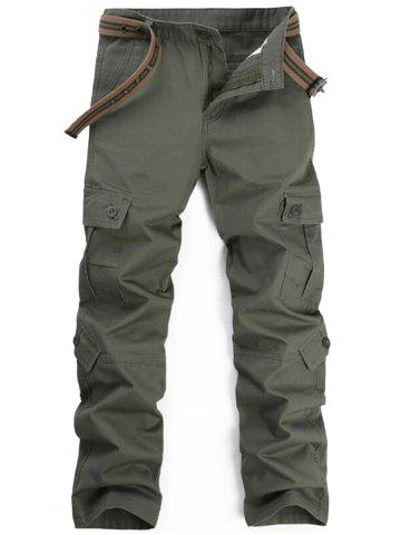 Latest Zipper Fly Pockets Straight Leg Cargo Pants - 32 ARMY GREEN Mobile