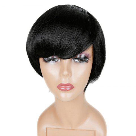 Outfits Short Inclined Fringe Straight Human Hair Wig - JET BLACK  Mobile