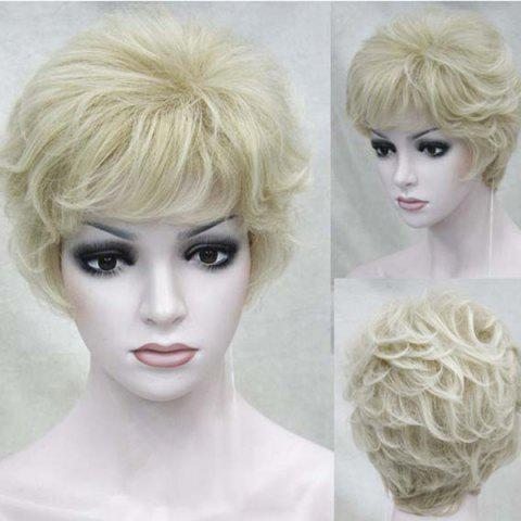 Sale Short Side Bang Fluffy Layered Slightly Curly Human Hair Wig