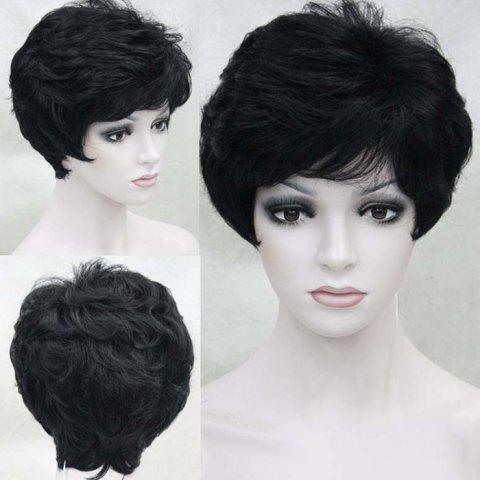 Hot Short Side Bang Layered Fluffy Slightly Curled Human Hair Wig