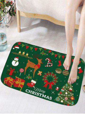Outfits Christmas Elements Thick Flannel Antiskid Area Rug - W16 INCH * L24 INCH DEEP GREEN Mobile