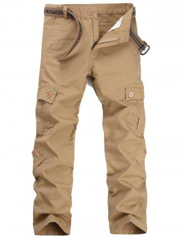 Zipper Fly Pockets Straight Leg Cargo Pants Kaki 36