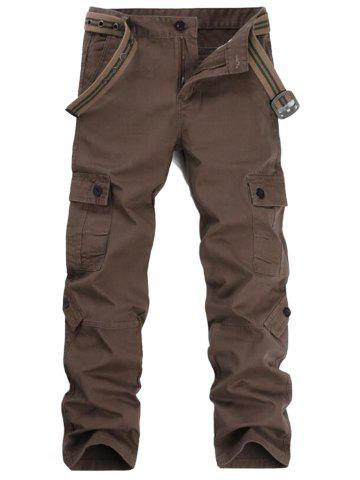 Affordable Zipper Fly Pockets Straight Leg Cargo Pants COFFEE 38