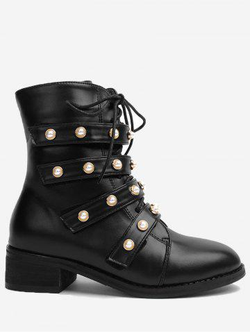 Best Round Toe Faux Pearl Ankle Boots BLACK 35